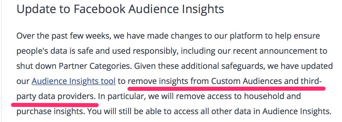 Audience Insights Custom Audiences entfernt